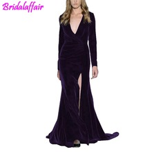 Women's Velvet Evening Gown Plunging Neckline Prom Dress mermaid dress Long Sleeve Party Gown robe de soiree evening dresses plunging neckline puff sleeve wrap sweater
