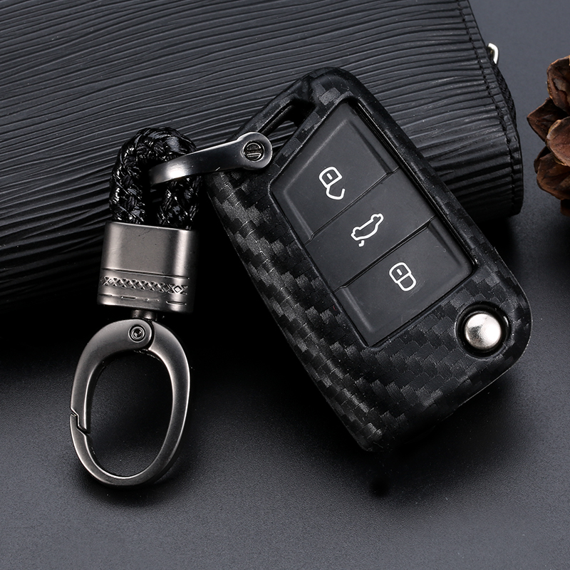 Cover Shell-Holder Keychain Keyring Car-Key-Case GTI Carbon-Fiber MK7 VW Tiguan Golf 7 title=