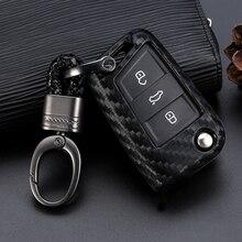 цена на Car Key Case Cover For Volkswagen VW Golf 7 GTI R MK7 Tiguan Carbon Fiber Car Key Bag Shell Holder Fob Keyring Keychain
