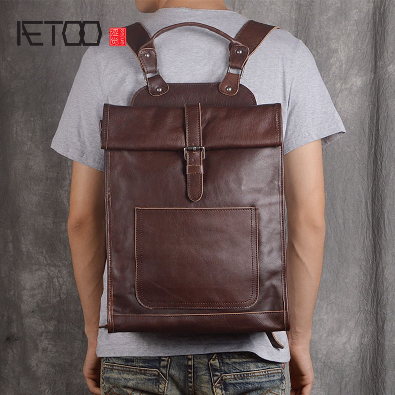 AETOO Original leather computer bag shoulder bag head layer leather leisure travel backpack simple fashion aetoo original women s shoulder bag black print backpack small fresh artistic first layer leather pocket computer bag