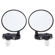 2 шт. универсальное зеркало мотоцикла алюминий черный 22 мм ручка бар конец заднего вида боковые зеркала аксессуары для мотора