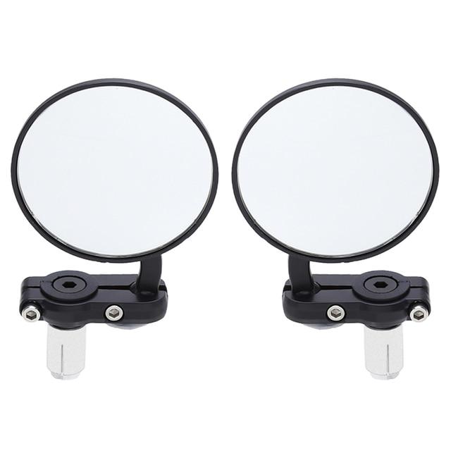 2 Pcs Universal Motos Espelho de Alumínio Preto 22mm Handle Bar End Retrovisor Side Espelhos Motor Acessórios