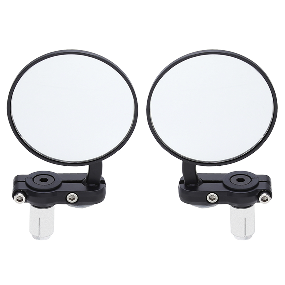 2Pcs Universal Motorcycle Mirror Aluminum Black 22mm Handle Bar End Rearview Side Mirrors Motor Accessories 2pcs aluminum 19mm 22mm 7 8 inch motorcycle handlebar gear balanced plug universal handle bar end grips slider black