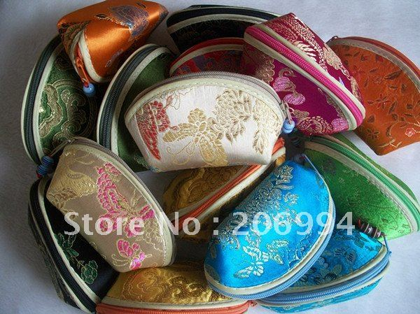 Wholesale 11X5.5X6.5cm Silk embroidery jewelry pack bags (many color mixture) 12pc/lot