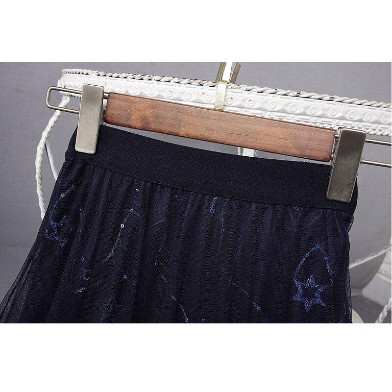 Mujeres Nuevo Verano Malla Y Alta Falda 2019 Primavera Lentejuelas Las De Azul Bordado Cintura Estrellas Faldas Largo qdt7Y47