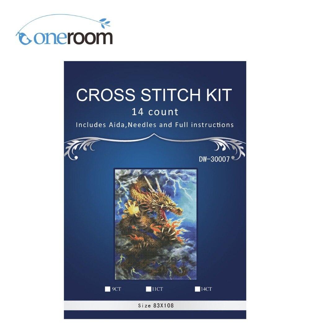 Dragon avec balle dans la griffe point chinois, bricolage 14CT similaire point de croix DMC, ensembles pour Kits de broderie