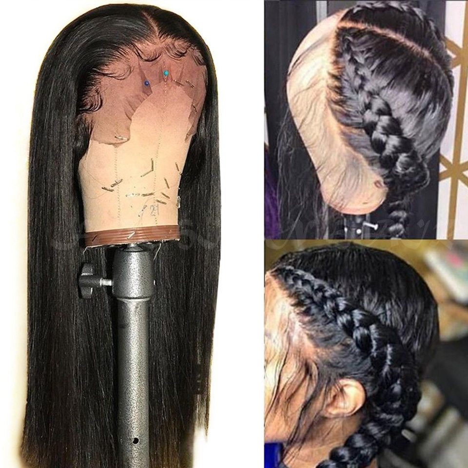250 Long Lace Front Human Hair Wigs Pre plucked Remy Free Part Brazilian Straight Lace Front