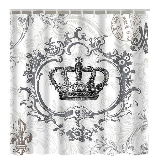 Luxurysmart Retro Royal Crown Bianco Tessuto Bagno Doccia Cortina di Linea w/Gan