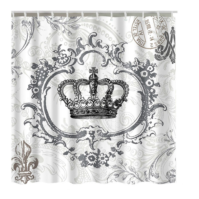 Us 12 06 15 Off Luxurysmart Retro Royal Crown White Fabric Bathroom Shower Curtain Liner W Hooks Polyester Waterproof In