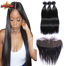 Lace Frontal Closure With Bundles 7A Brazilian Straight Virgin Hair Bundles With Lace Frontals 13×4 Lace Frontal With 3 Bundles