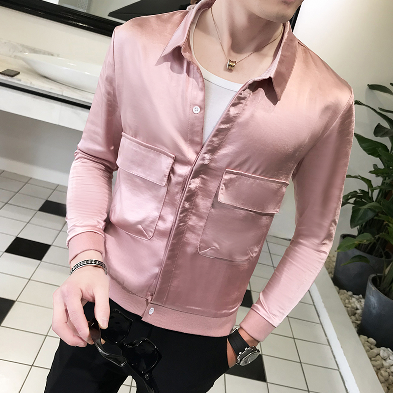 2018 spring new mens lapel silk jacket tide young hair stylist Slim short summer coat