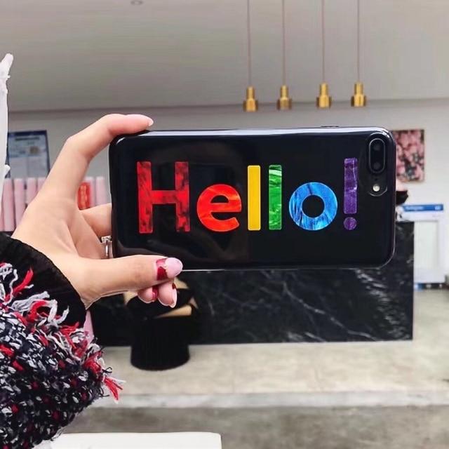 Luxury Rainbow Glitter Phone Case For IPhone 7 8 Plus X Hello Letter Print Soft TPU