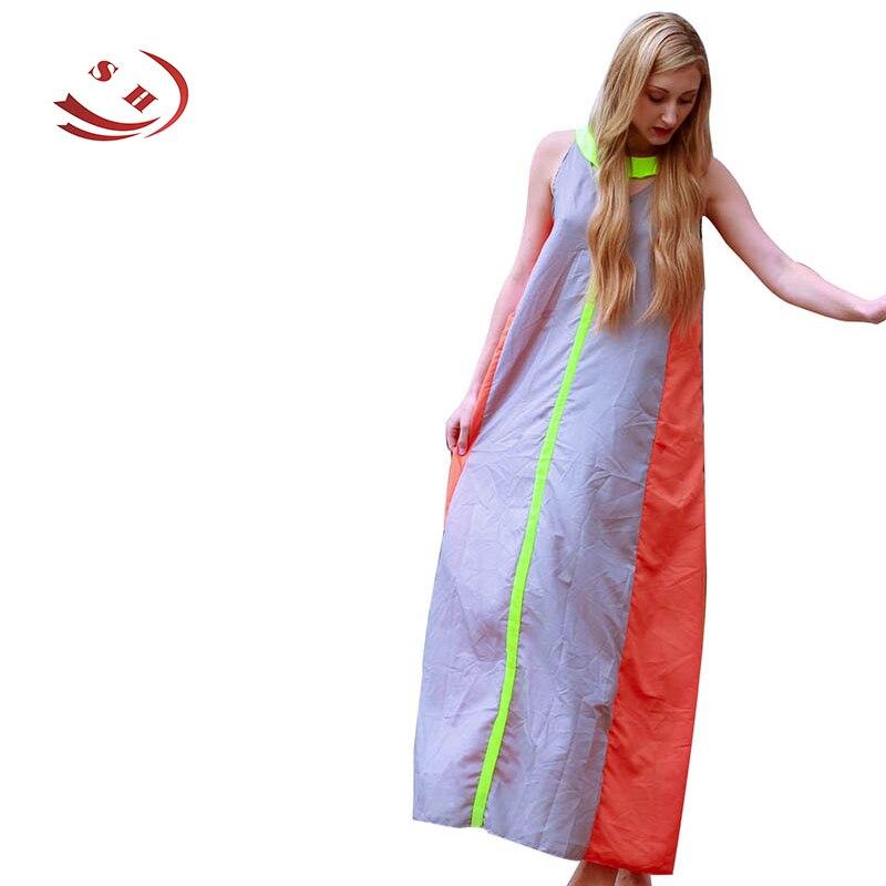Módní lopatka krku barevný blok vyhloubit bez rukávů Maxi šaty pro ženy české Patchwork dlouhé volné šaty