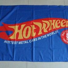 Автомобильная выставка hot wheels синий автомобильный шоу флаг для обслуживания, горячие колеса баннеры на машину, 90X150 см размер, полиэстер
