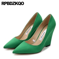 Red Italian Ladies Green Wedge Shoes Suede 2018 Luxury Top Quality Peach Pointed Toe Size 4 34 Celebrity Brand High Heels Pumps