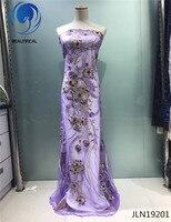 BUAETIFICAL Lila französisch tüll stoff Neuesten stil tüll mit perlen Stickerei blume französisch spitze stoff JLN192