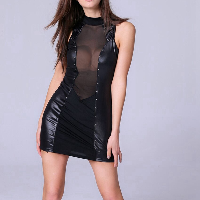Plus Size New Women Sexy Faux Leather Mini Dress Nightwear Black Fetish Latex Dress Glossy Stretch Catsuit Pole Dancing Clothes