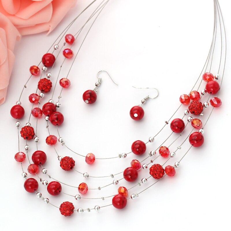 Zoshi moda conjuntos de jóias de cristal strass cor prata cadeia multicamada gargantilhas colares brincos conjunto de jóias para as mulheres