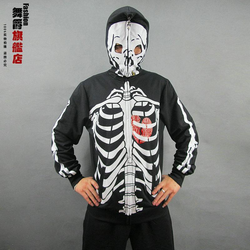 New fashion casual Jazz sweatshirts Skull print long-sleeve Hallowmas costume Zipper Hooded Pattern  dance hip hop  jacket