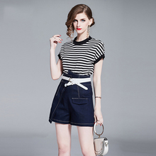 2 Piece Set Women 2019 Summer New Fashion Striped T-shirt High Waist Shorts Casual Sashes O-Neck Two Piece Set Top and Pants все цены