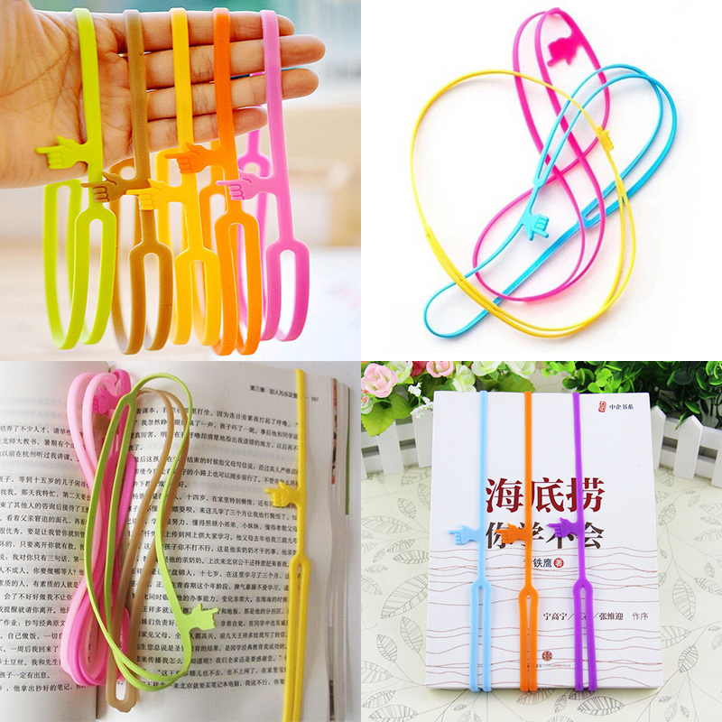 1 PCS New Creative Cute Silicone Finger Pointing Bookmark Book Mark Office Supply Funny Gift