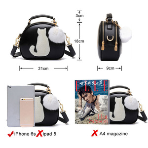 Image 4 - 2020 Women Shoulder Bags Crossbody Bag For Women Handbag PU Leather Full Moon Candy Color Cute Cat With Fur Ball