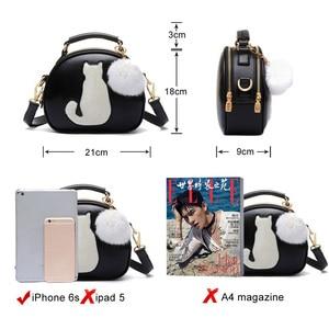 Image 4 - 2020 damskie torebki na ramię Crossbody torba dla kobiet torebka PU skóra pełnia księżyca cukierki kolor słodki kociak z futrzana kulka