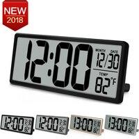 Extra Large Vision Digital Wall Clock Jumbo Alarm Clock 13.8 LCD Display Alarm Snooze Calendar Indoor Temperature Office Decor