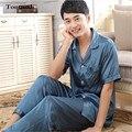 2016 Новый Шелковый Пижамы Установить Пижамы Кардиган Мужские Шелковые Пижамы Набор С Коротким Рукавом Брюки Плюс Размер XXXL Пижамы