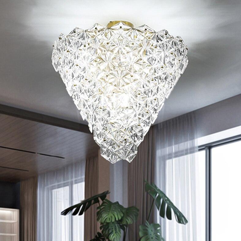 Luces de techo de cristal moderno lámpara de techo de flores de nieve americana lámpara de techo cama sala de estar hogar iluminación interior