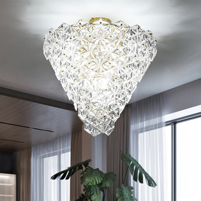 Modern Crystal Glass Ceiling Lights Fixture LED Light American Snow Flower Ceiling Lamps Bed Living Room Home Indoor Lighting