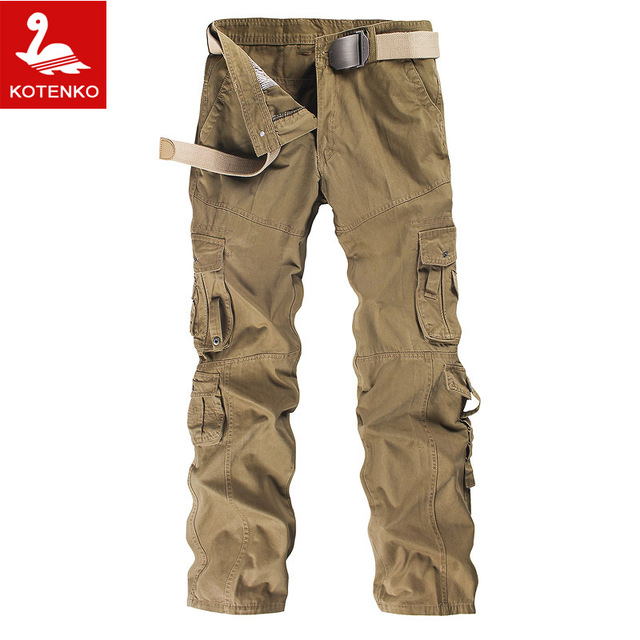 Hot Sale Man Men's Cotton Combat Multi-Pockets Casual Loose Long Full Length Cargo Pants Work Trousers Camouflage Large Size