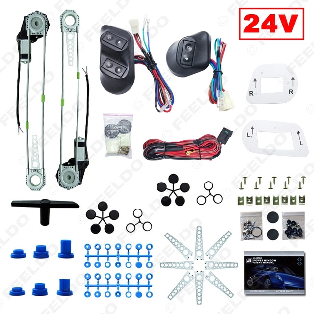 Universal Truck Bus 2-Doors Electric Power Window Kits 3pcs/Set Switches & Wire Harness DC24V #FD-3744