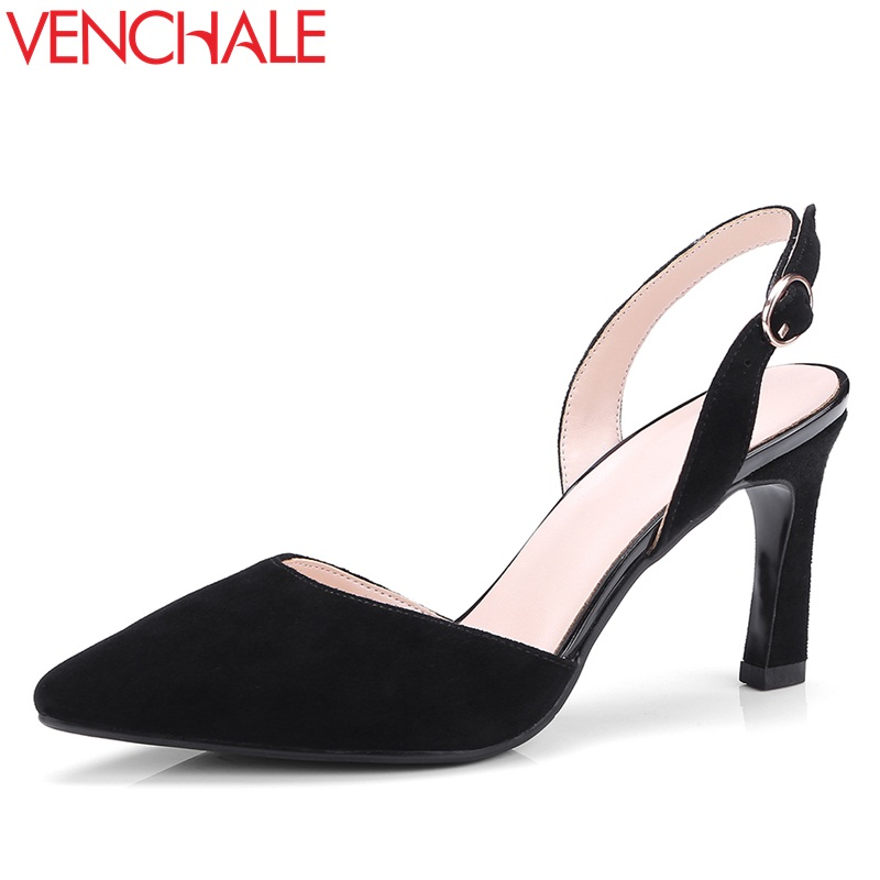 VENCHALE women shoes 2018 summer new sandals fashion heels height 8 cm two colors thin high heel back strap leisure shoes venchale 2018 summer new fashion sandals wedges platform women shoes height heel 10 cm buckle strap casual cow leather sandals