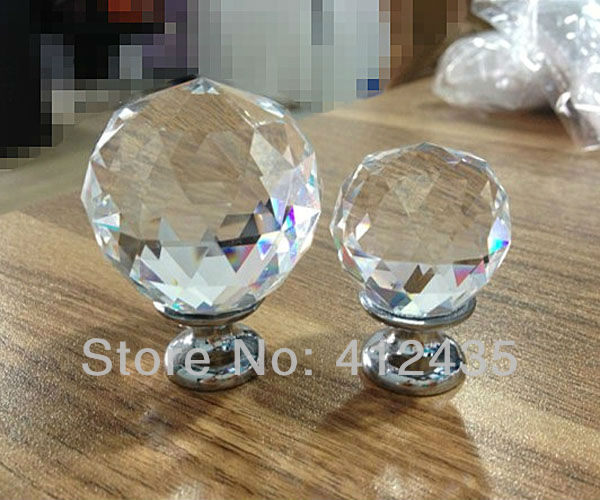Free Shipping 20MM 10pcs/lot Clear Zinc Glass Crystal Decorative Kitchen Drawer Dresser Door Cabinet Knobs and Handles Pulls