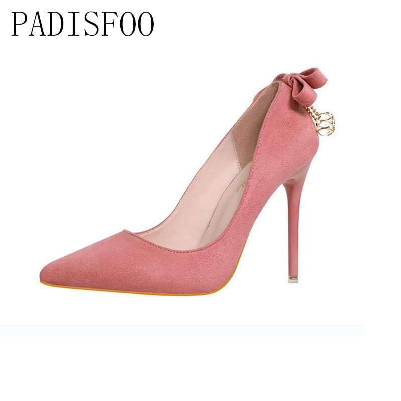 POADISFOO flock face pumps  sexy high heels fine with Point Toe Party Wedding pumps suits after the bow diamond shoes .ZWM-9616 mattel ever after high dvj20 отважные принцессы холли о хэир