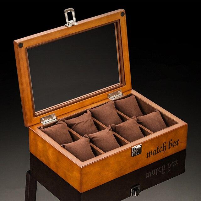 Las 8 mejores ranuras de madera de las cajas del reloj de moda negro de almacenamiento del reloj con la caja de regalo de la caja del reloj de la cerradura W033