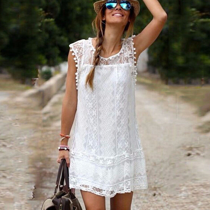2017 Fashion Lace summer dresses Loose Nation Vintage white Sexy Above Knee mini dress