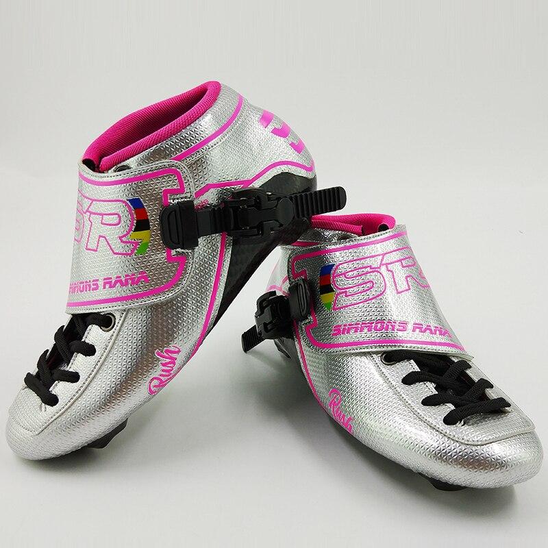 Professionnel de Patin de Vitesse SR Patins Femmes Hommes Adultes De Patinage À Roulettes Enfants Chaussures de Skate En Ligne Carbone Nouvelle Arrivée Bottes Rose Bleu