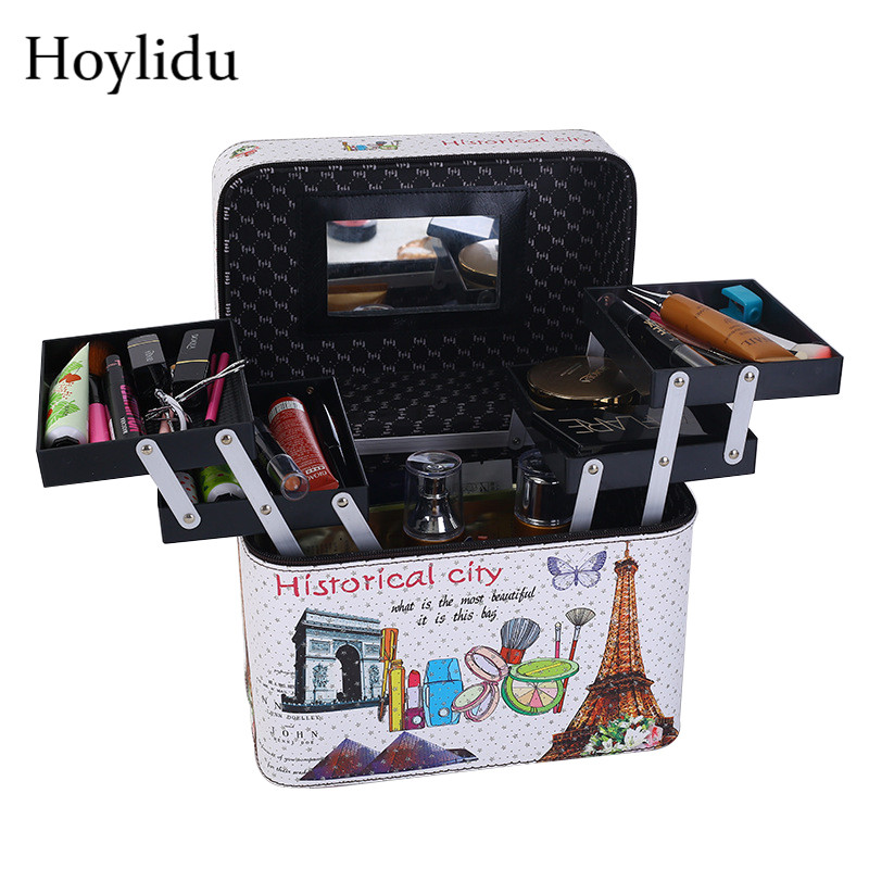 Large Capacity Professional Makeup Bag Women Cosmetic Box Travel Organizer Multi-layer Make UP Bag Female Suitcase Toiletry Case fashion professional makeup bag women cosmetic case high end female beauty makeup box large brush jewelry travel make up box