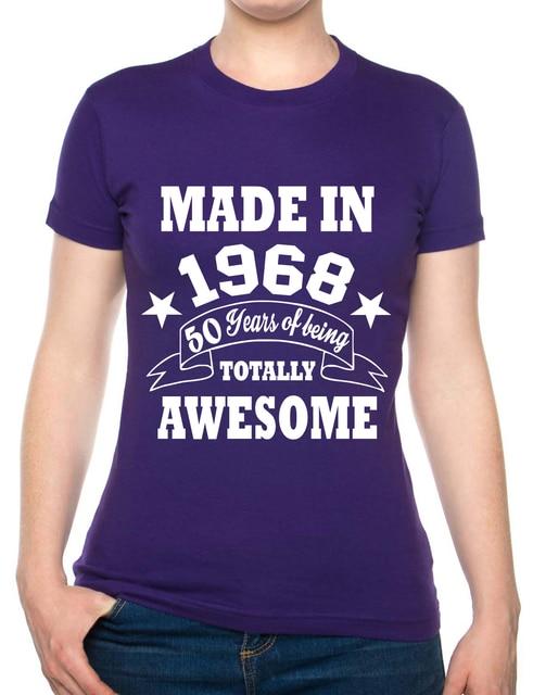 f52bf258b 50th Birthday Present Born in 1968 Ladies 50th Gift Ladies T Shirt S XXL  Novelty Cool