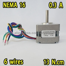 FREE SHIPPING stepper motor 16HS13-0306S  L 34 mm  Nema16  with 1.8 deg  0.3 A  13 N.cm and  unipolar 6 lead wires