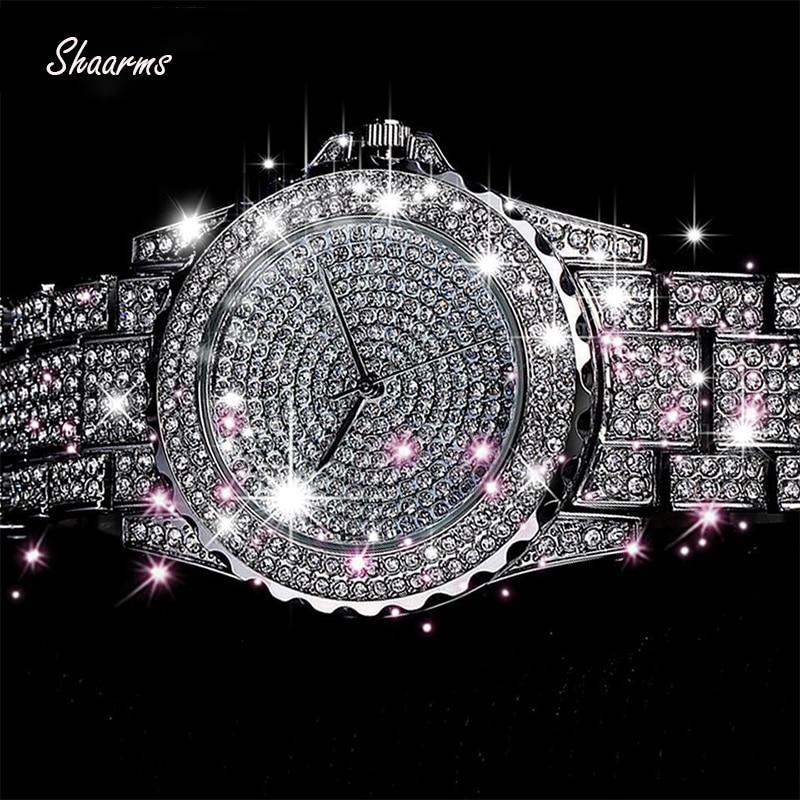 Damski zegarek kwarcowy modne bling damski zegarek damski złoty zegarek kwarcowy kryształowy diament dla kobiet zegar 1