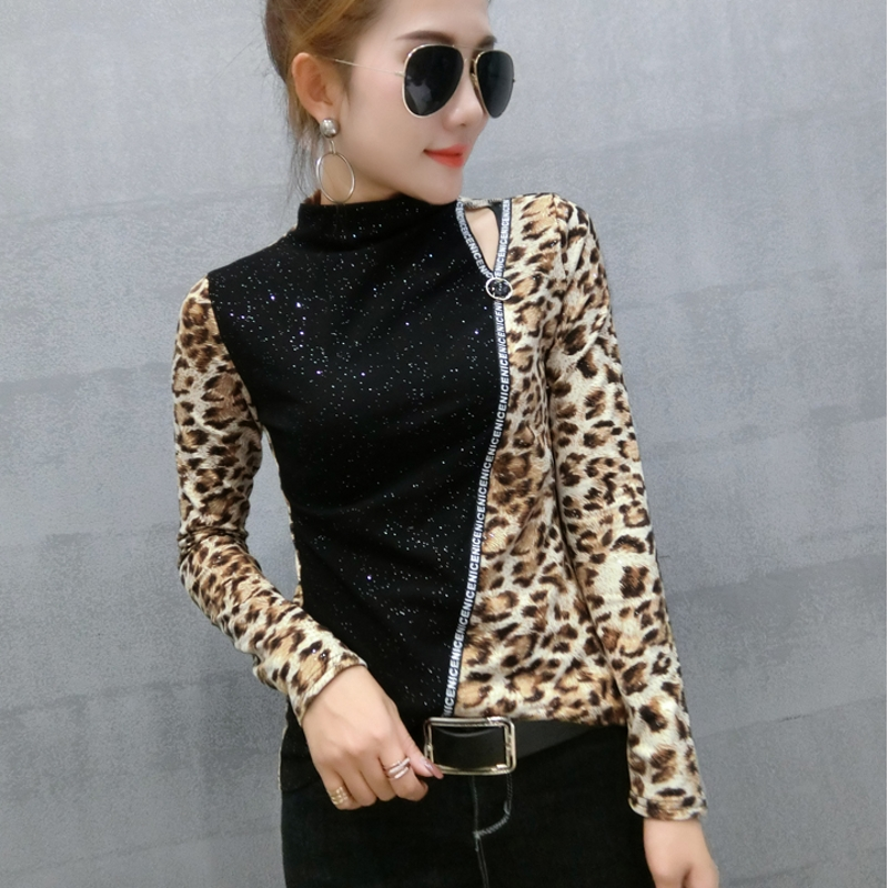Patchwork Leopard Pullover Tshirt 2019 New Spring Autumn Women Sequined Bottoming Shirt Turtleneck T Shirts Clothes T91801