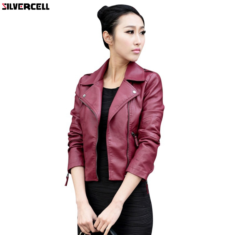 2018 Women PU   Leather   Jacket Slim Motorcycle Zipper Punk PU   Leather   Outwear Jacket S-XXXL