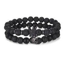 Lava Stone Bracelet Men Charm Crown Bracelet