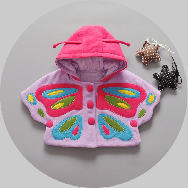 2016 новые девушки babys осенью и зимой плащ дети для девочки милые вышивка бабочка детская одежда одежды