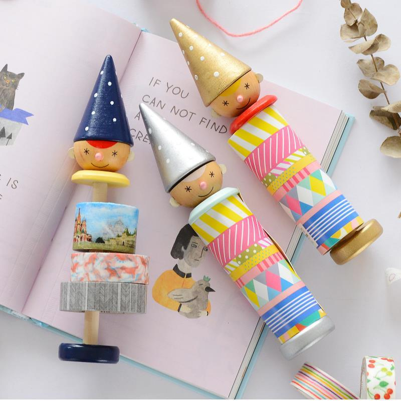 1pcs Boy Style DIY School Pen Masking Tape Dispenser Washi Tape Wooden Holder Office Supplies Rose Gold Stationery 02462