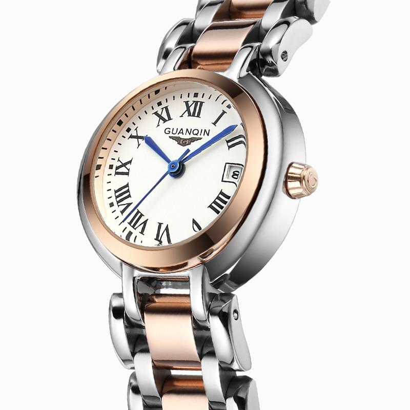 ФОТО New Women Watch brand GUANQIN fashion quartz women watches diamond wristwatch stainless steel waterproof  Lady vintage watches