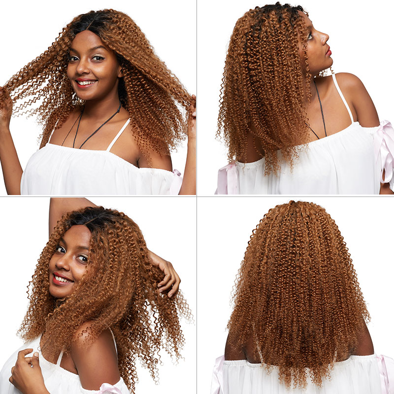 Pinshair Ombre Blonde Afro Kinky Curly Human Hair Wigs for Women T1B30 Brazilian Lace Front Human Hair Wig Non-Remy Closure Wig (69)